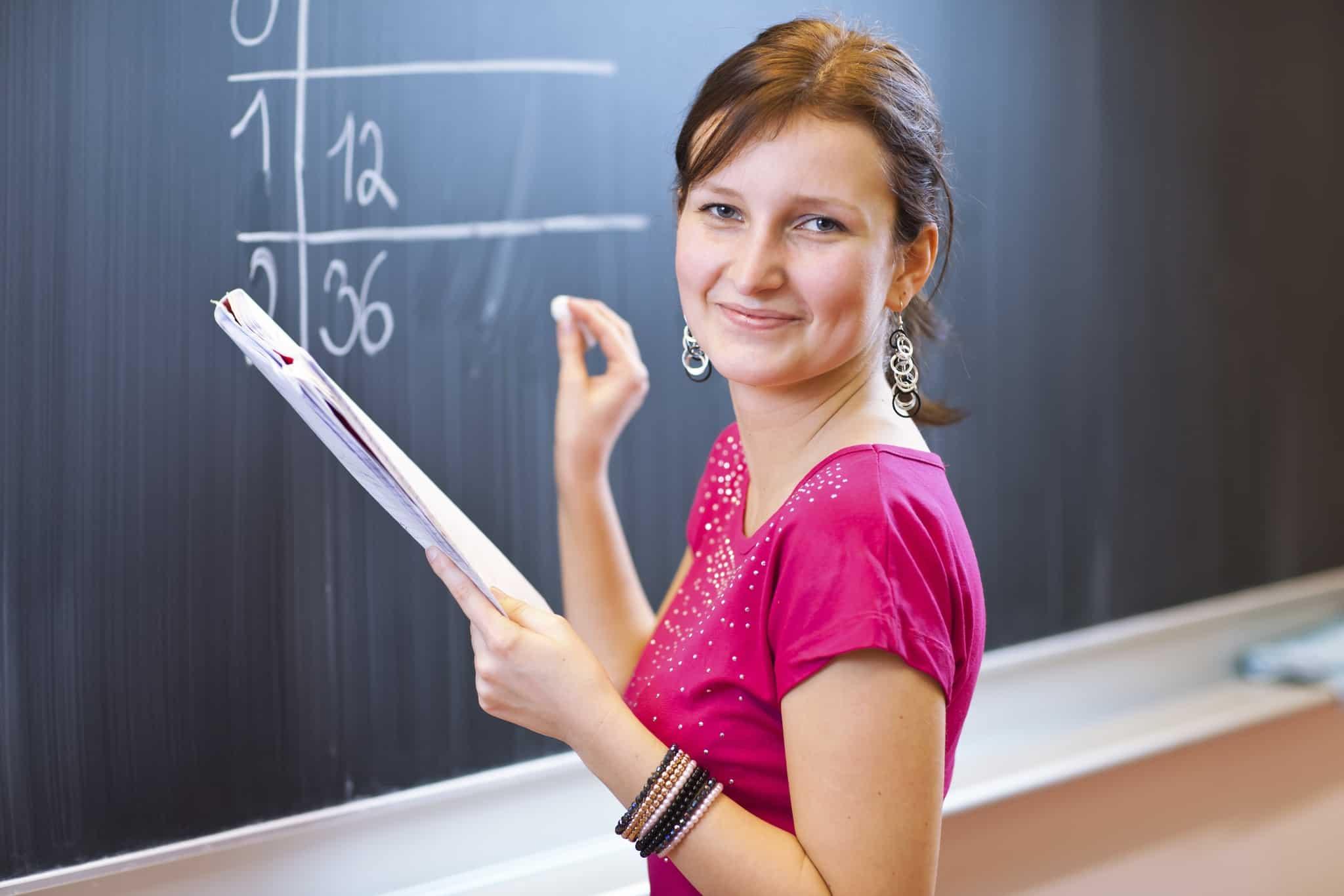 A Caucasian female math teacher
