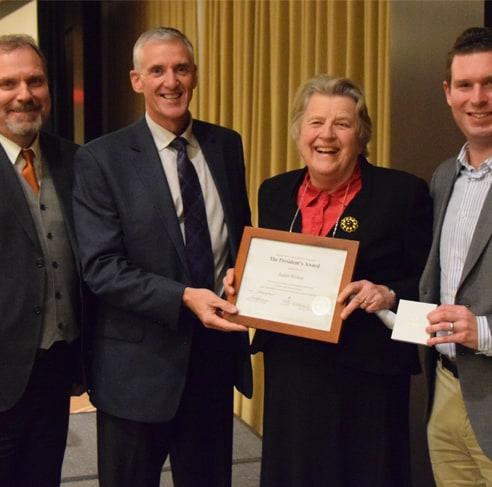 Former HWDSB Trustee Judith Bishop receives an OPSBA Award.