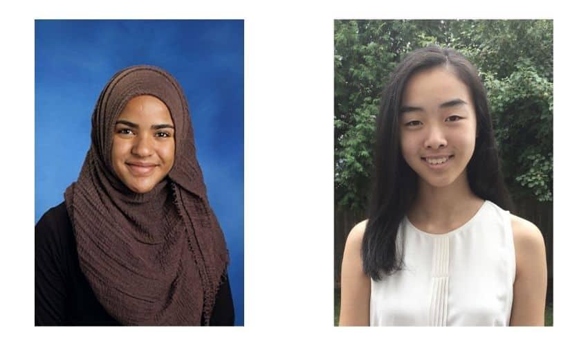 Scholarship winners Fridaus Shallo and Joy Liu